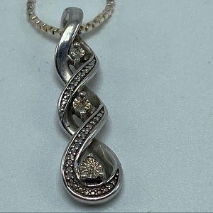 """18"""" sterling silver triple infinity diamond drop"""
